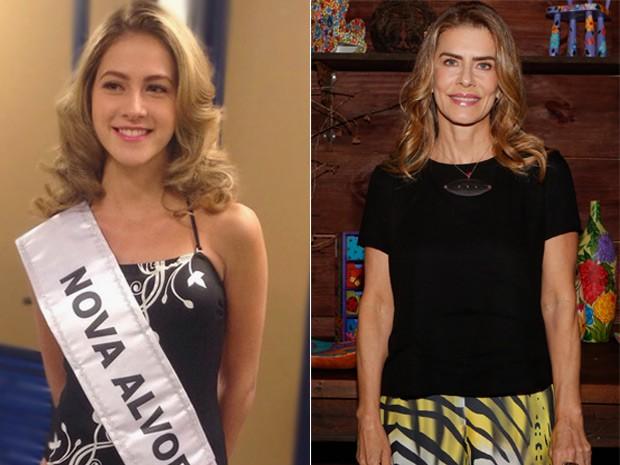 Hanna Romanazzi vestida de miss para personagem jovem de Maitê Proença. Compare as duas atrizes na foto acima (Foto: Alto Astral / Gshow)