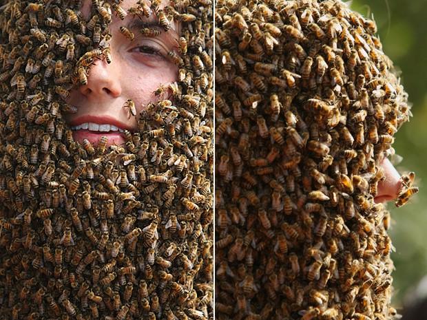Inúmeras abelhas percorrem o rosto de partipante de competição anual no Canadá (Foto: The Canadian Press/Dave Chidley/AP)