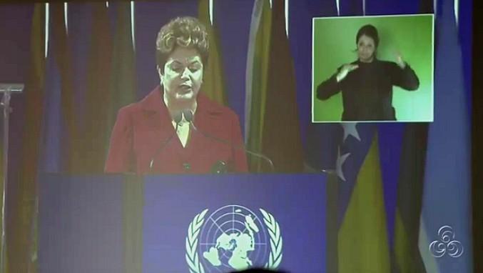 Presidente Dilma Roussef discursa na Rio+20 (Foto: Bom dia Amazônia)