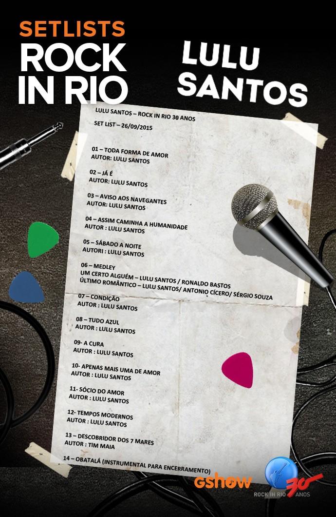 Setlist do show de Lulu Santos  (Foto: Gshow)