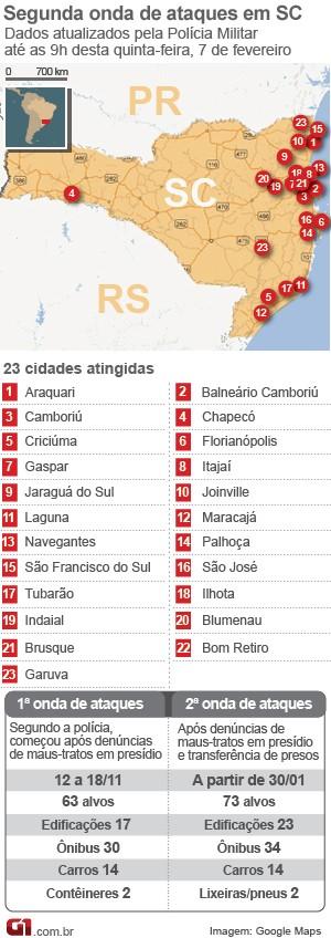 mapa de ataques em santa catarina 7 de fevereiro (Foto: Arte/G1)