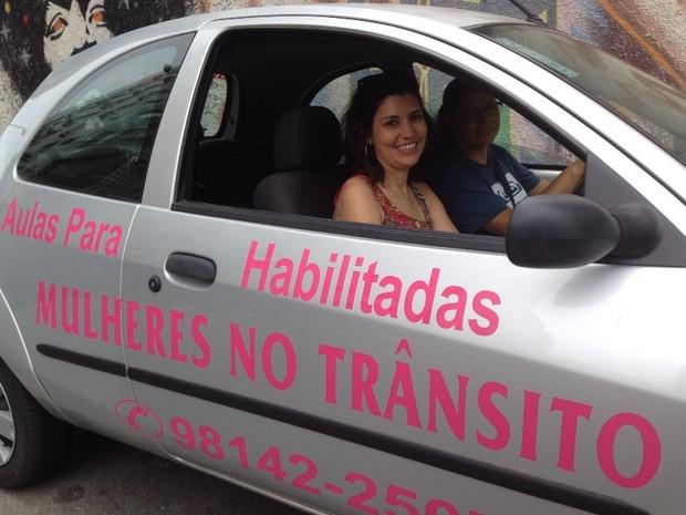 Mirian teve ideia quando trabalhava em auto escola de Santos e São Vicente (Foto: Rafaella Mendes/G1)