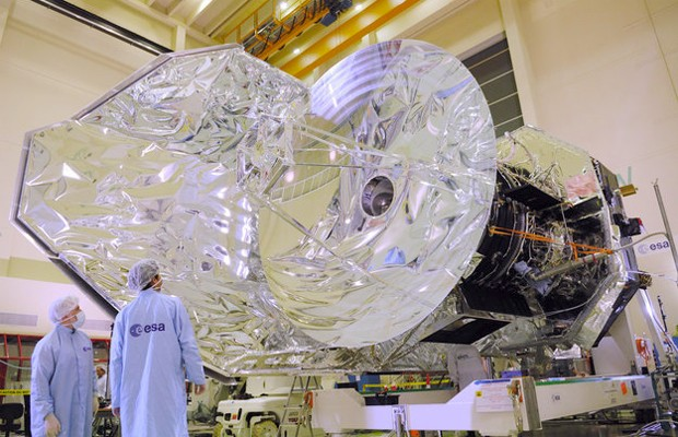 Pesquisadores observam estrutura do Observatório Espacial Herschel (Foto: Divulgação/ESA)