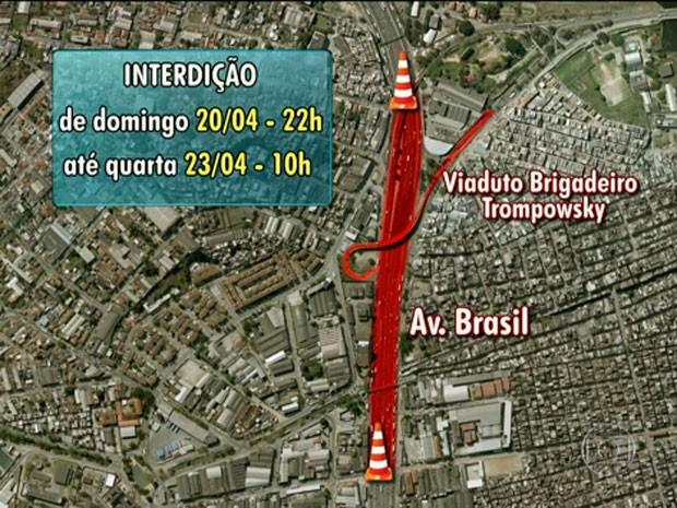 Interdição Avenida Brasil  (Foto: Reprodução / TV Globo)