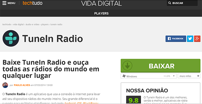 TuneIn para PC: ouça rádio online no app universal do