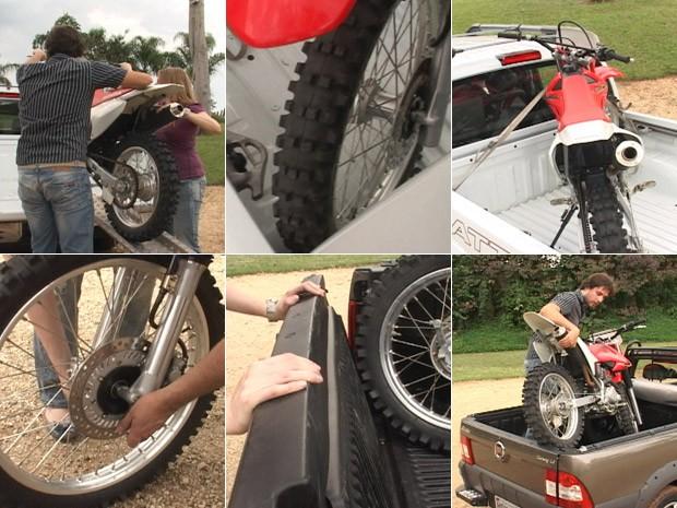 Da equerda para a direita (acima): com a ajuda e uma pessoa e de uma rampa suba a moto na caçamba; o pneu da moto tem que encostar na lateral do compartimento. Depois, fixe com as fitas, que devem ficar esticadas. Da esquerda para a direita (abaixo): ao subir a moto sem ajuda da rampa, segure-a pela bengala e o guidão; caso a caçamba seja pequena, levante a moto, feche a tampa e apoie o pneu. Fixe também com as fitas especiais.ie a mo (Foto: Reprodução/G1)