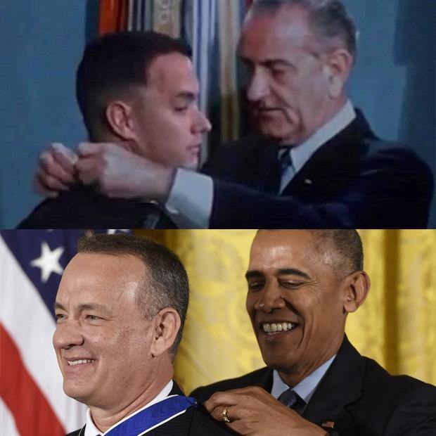Tom Hanks em 1968 (em Forest Gump) e 2016 com Barack Obama (Foto: Reprodução / Forrest Gump - Saul Loeb / AFP)
