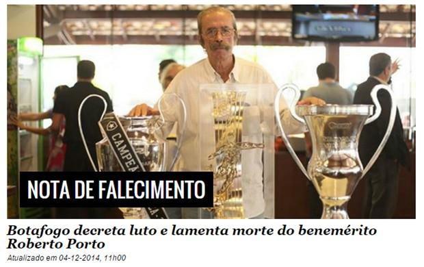 roberto porto print jornalista botafogo (Foto: Reprodução)