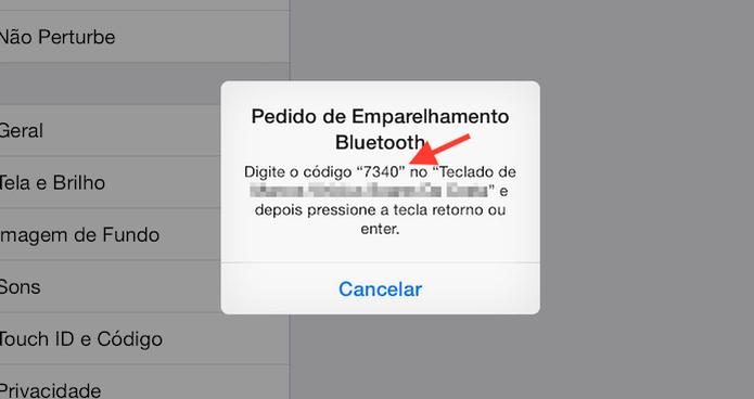 Pedido de emparelhamento Bluetooth do iPad com um teclado sem fio (Foto: Reprodução/Marvin Costa)
