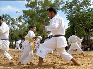 Caratecas se reuniram neste último domingo (29) para treinamento (Foto: Reprodução/TV Anhanguera)