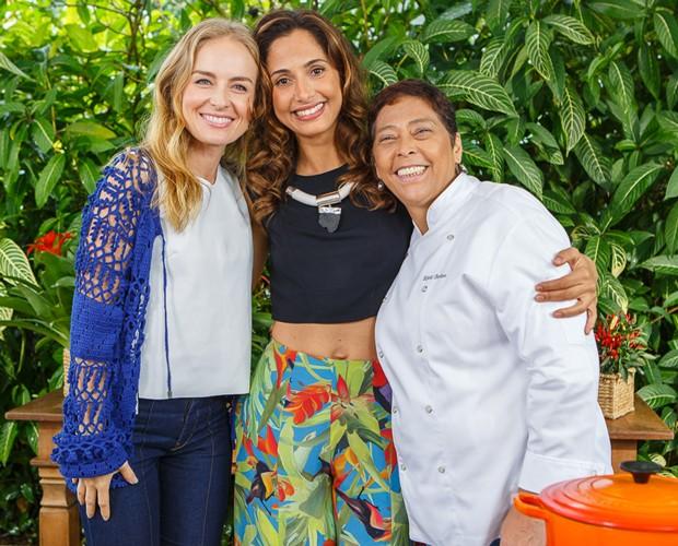 Camila Pitanga gravou ao lado de Angélica e da chef Katia barbosa (Foto: Artur Meninea / Gshow)