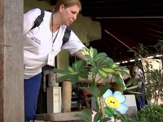 Agente fiscaliza casa em Rio Preto (Foto: Reprodução / TV TEM)