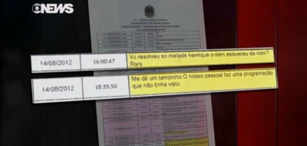 Trecho da conversa com Pinheiro em que Cunha cita Henrique Alves (Foto: Reprodução/GloboNews)