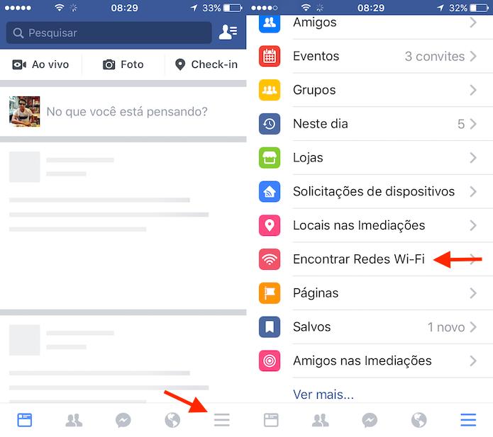 Acesso a opção de busca por redes Wi-Fi do Facebook para iPhone (Foto: Reprodução/Marvin Costa)