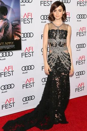 Lily Collins em première de filme em Los Angeles, nos Estados Unidos (Foto: Jean Baptiste Lacroix/ AFP)