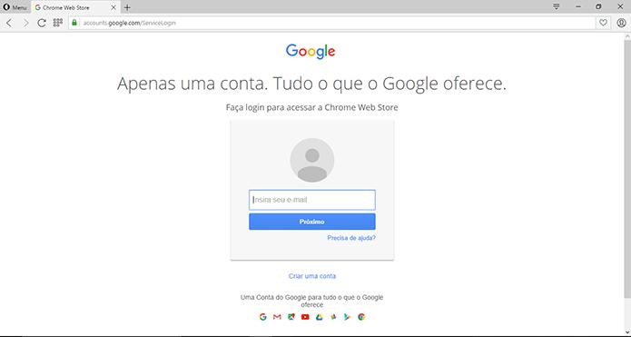 Usuário deve inserir dados do Google para sincronizar conta da Chrome Web Store (Foto: Reprodução/Elson de Souza)