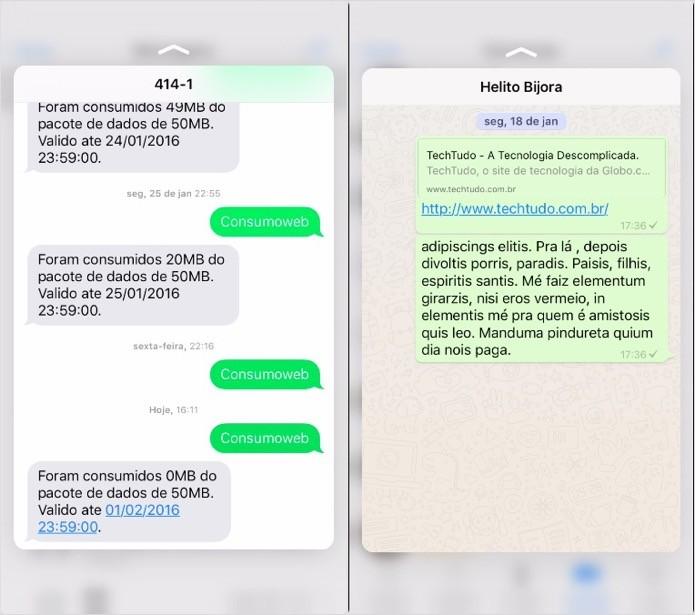 Pré-visualizando mensagens SMS e conversas no WhatsApp (Foto: Reprodução/Helito Bijora)