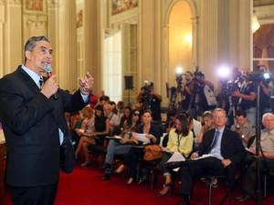 Secretário estadual da Fazenda, Giovani Feltes em apresentação dos dados relativos à situação financeira do RS (Foto: Luiz Chaves/Palácio Piratini)