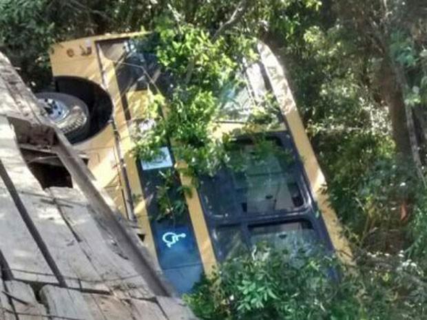 Ônibus com crianças cai de ponte e deixa morto e feridos no Sul de MG (Foto: Pedro Nascimento/Jornal de Lavras)