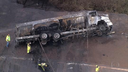 Congonhas - 13h45: Caminhão com combustível tomba e pega fogo