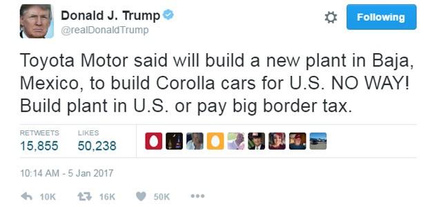 Donald Trump fez ameaça à Toyota porque montadora tem planos de construir nova fábrica no México (Foto: Reprodução/Twitter)