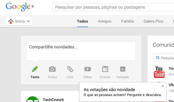 Google+ ganha recurso Votação, para fazer enquetes online (Foto: Reprodução/Google+)