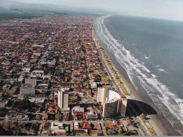 Vista área da cidade de Peruíbe, no litoral de São Paulo (Foto: Divulgação/Prefeitura de Peruíbe)