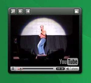 Reprodução de vídeos Youtuber Yahoo! Widget