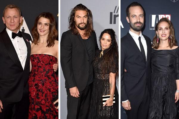 Daniel Craig e Rachel Weisz; Jason Momoa e Lisa Bonet, e Natalie Portman e Benjamin Millepied (Foto: Getty Images)