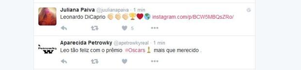 Juliana Paiva e Aparecida Petrowky comentam vitória de Leonardo DiCaprio no Oscar 2016 (Foto: Reprodução/Twitter)