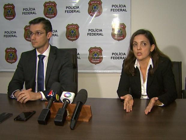 O delegado da PF João Luis Morais de Rosa e a procuradora da República Anamara Osório da Silva (Foto: Reprodução/EPTV)
