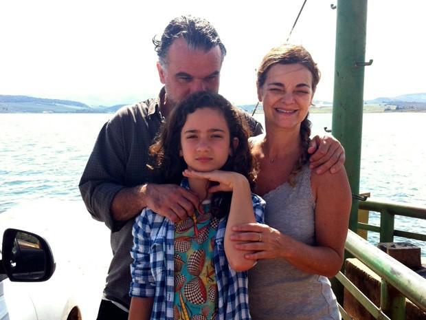 Inês Peixoto com o marido, Eduardo Moreira, e a filha Bárbara (Foto: Arquivo Pessoal)