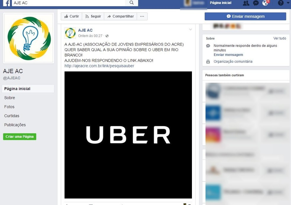 Associação fez um questionário perguntando a opinião da população sobre o Uber, em Rio Branco  (Foto: Reprodução/Facebook)