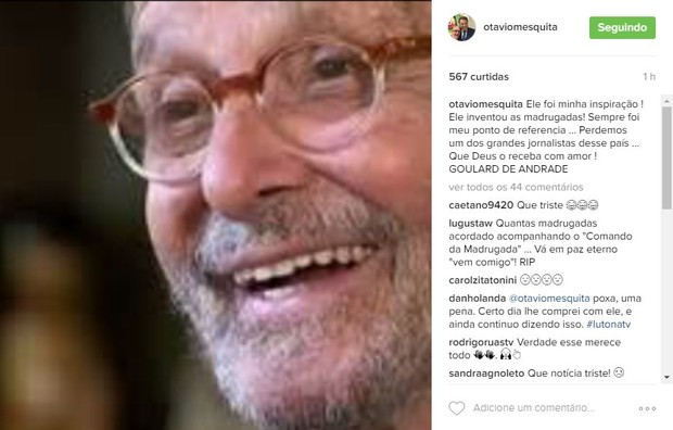 Otávio Mesquita fala de morte de Goulart de Andrade (Foto: Reprodução / Instagram)