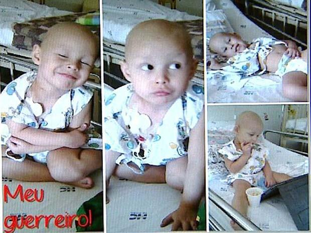 Em imagens compartilhadas em uma rede social, mãe de Pedro posta fotos do menino já internado no HC (Foto: Cláudio Oliveira/EPTV)