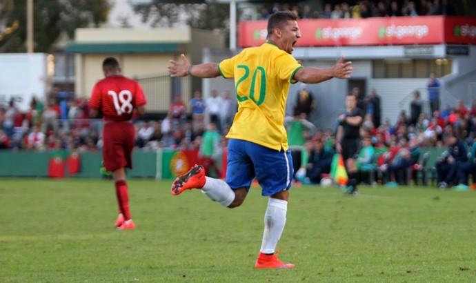 Judivan comemora gol em amistoso do Brasil sub-20 contra Portugal (Foto: Reprodução / CBF)