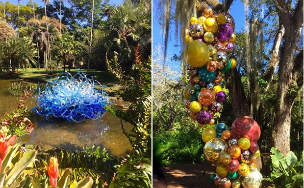 Em diferentes ambientes do parque, as obras de vidro marcam presena com seu colorido (Foto: Reproduo/ 40 Forever)