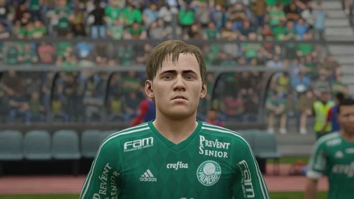 Palmeirense aparece loiro em Fifa 16 (Foto: Reprodução/Murilo Molina)