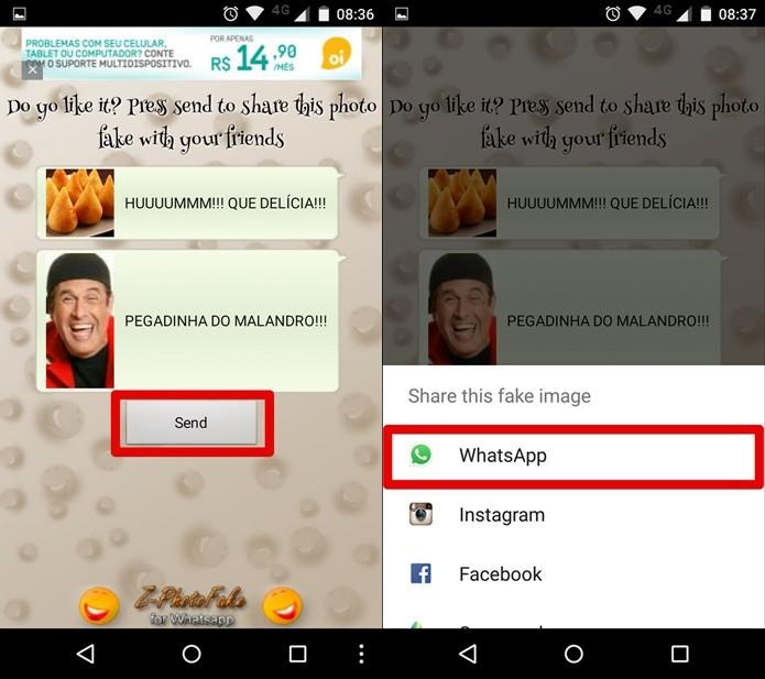 Escolha o Whatsapp como forma de compartilhamento (Foto: Felipe Alencar/TechTudo)