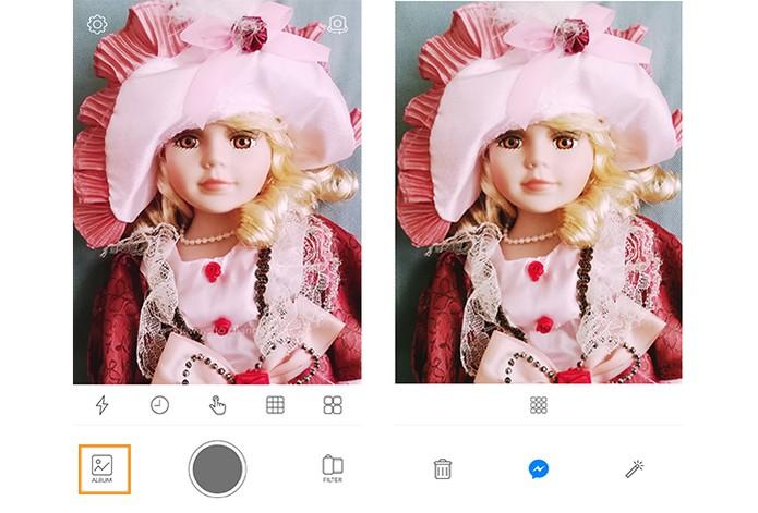 As fotos ficarão salvas no álbum do app (Foto: Reprodução/Barbara Mannara)