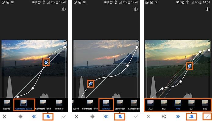 Edite as curvas com padrões de contraste e filtros (Foto: Reprodução/Barbara Mannara)