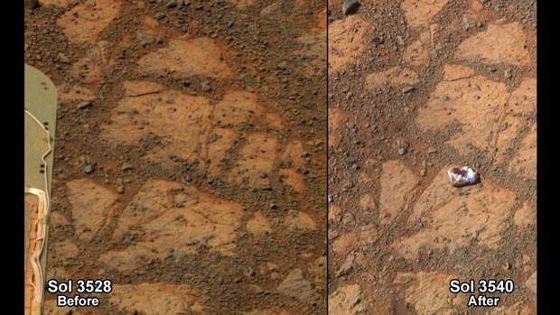 Segundo Nasa, fragmento se soltou de uma rocha maior (Foto: NASA/AP)
