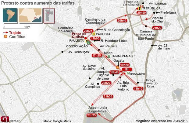 Mapa Manifestação SP 20/6 (Foto: Arte/G1)