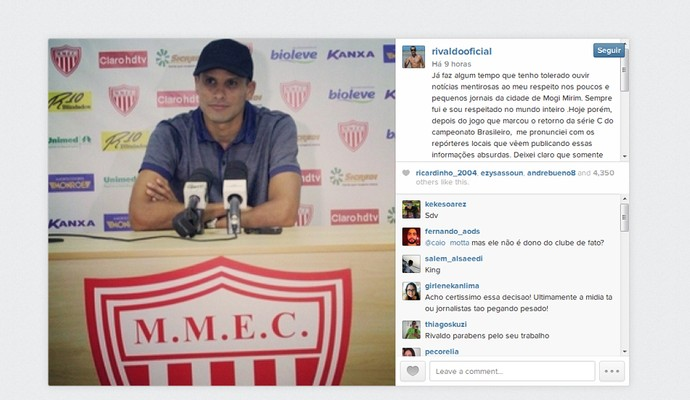 Rivaldo presidente Mogi Mirim (Foto: Reprodução / Instagram)