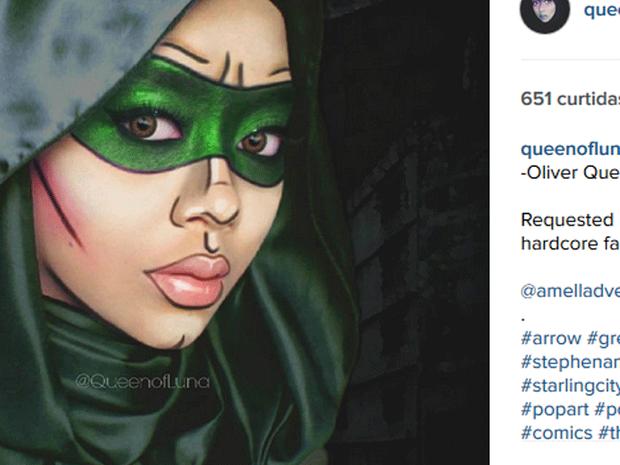 Saraswati caracterizada de Arqueiro Verde (Foto: Reprodução/Instagram/queenofluna)