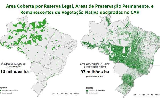 Comparação entre as unidades de conservação federais e as áreas preservadas declaradas no CAR (Foto: Divulgação/ Serviço Florestal Brasileiro)