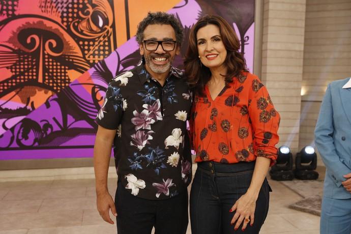 O cantor Simoninha com a apresentadora  (Foto: Ellen Soares/Gshow)