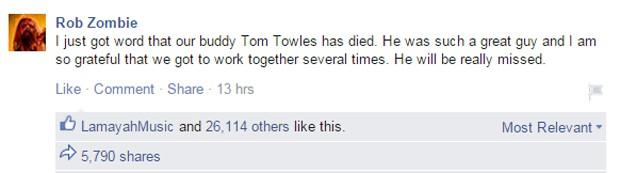 Robie Zombie anunciou morte em seu Facebook (Foto: Reprodução/Facebook)