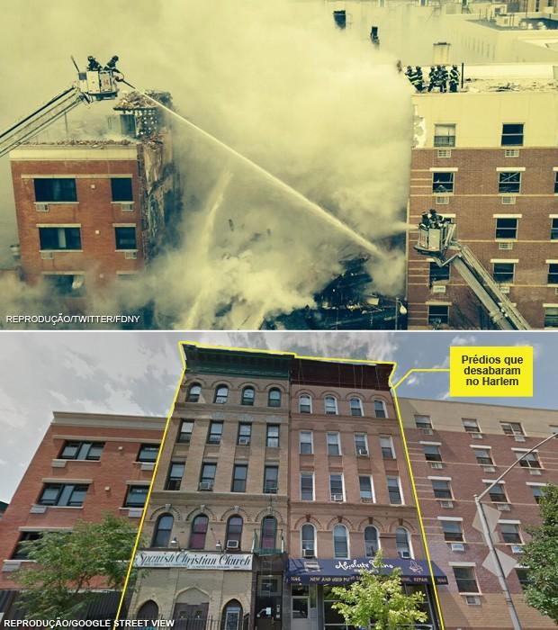 Comparativo mostra o local do desabamento em NY durante a ação dos bombeiros (topo) e antes, como eram os prédios (Foto: Reprodução/Twitter/FDNY; Editoria de Arte/G1 sobre Reprodução/Google Street View)