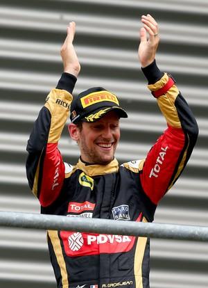 Romain Grosjean comemora terceiro lugar no GP da Bélgica (Foto: Getty Images)
